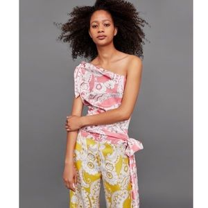 NWT Pink Paisley Asymmetrical One Shoulder Top